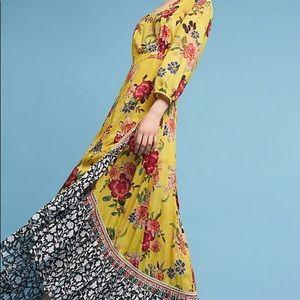 Anthro | Farm Rio Sunlit Floral Maxi Wrap Dress